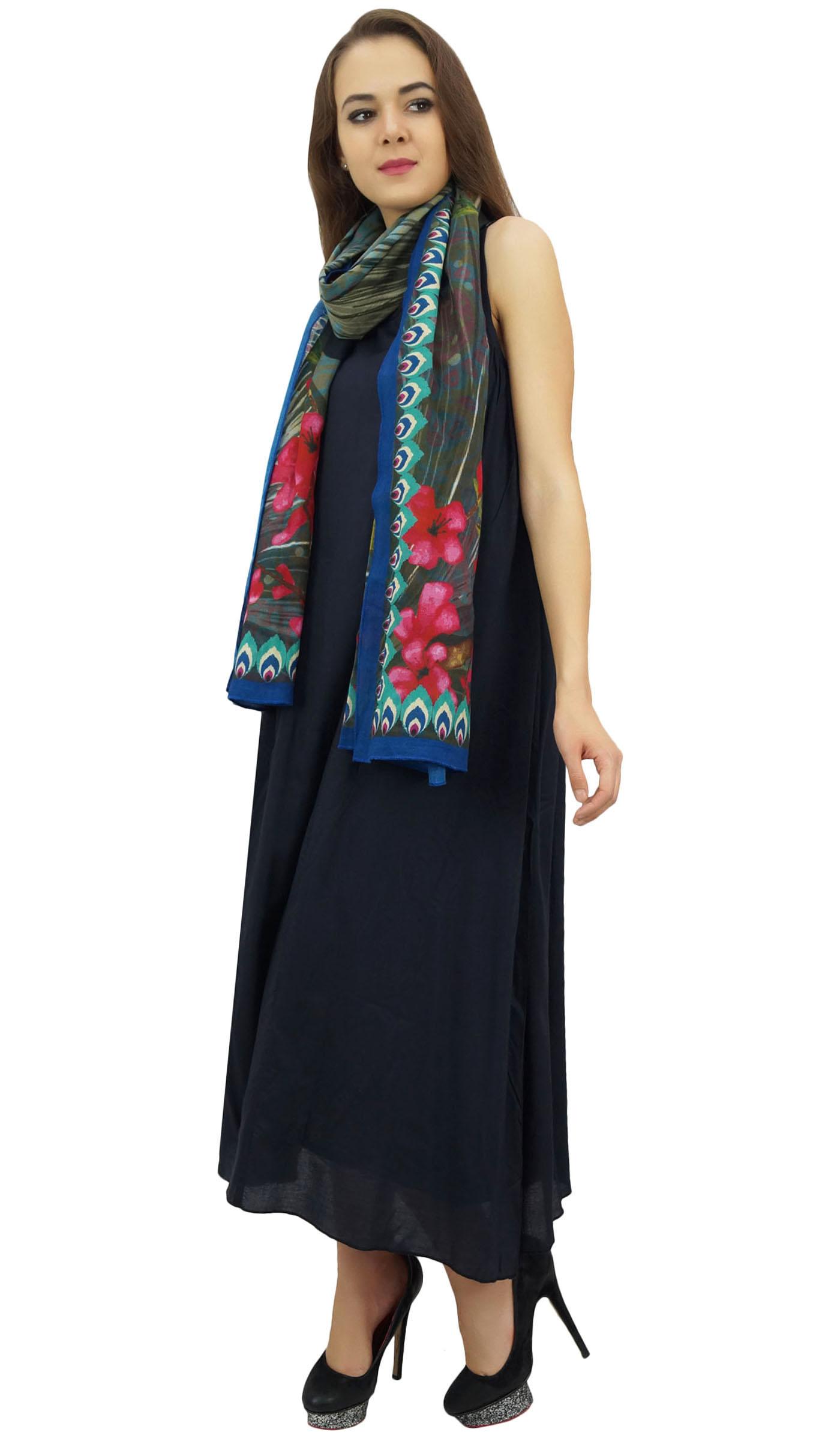 Indexbild 3 - Bimba Damen Designer Marineblaues Kleid Mit Floral Bedrucktem Schal-wbh