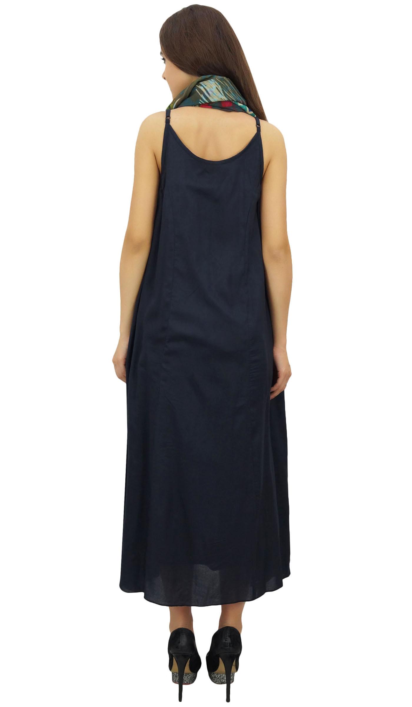 Indexbild 4 - Bimba Damen Designer Marineblaues Kleid Mit Floral Bedrucktem Schal-wbh
