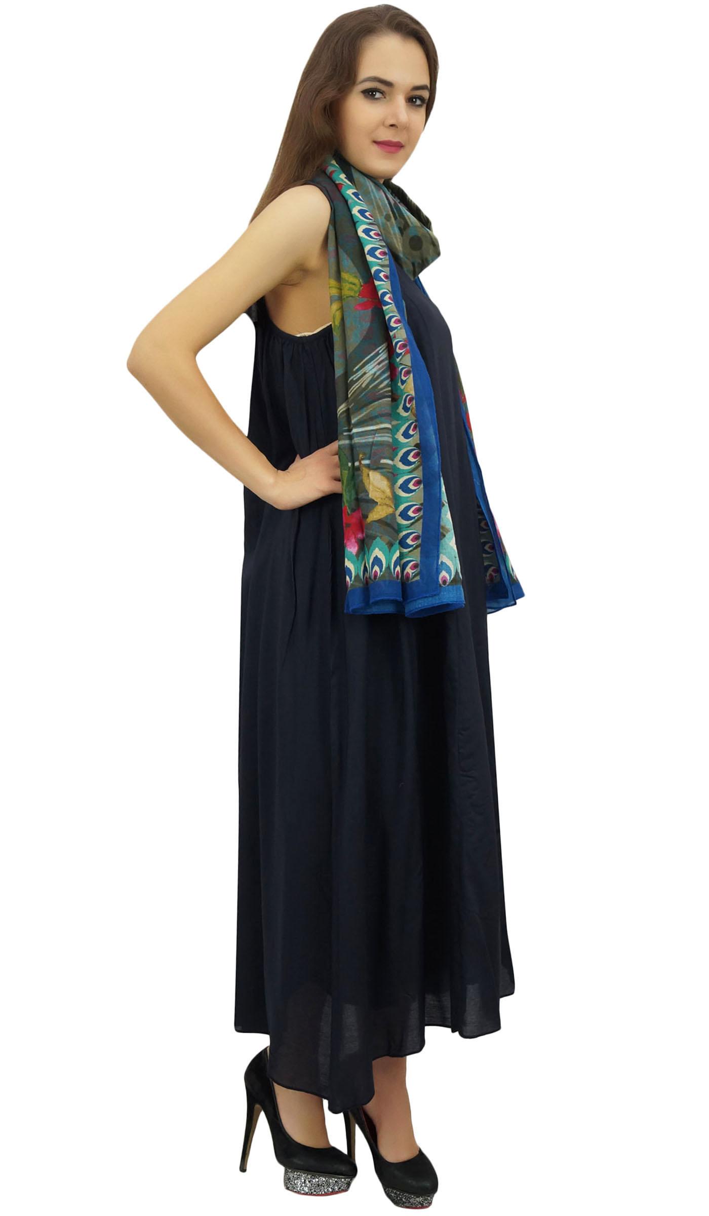 Indexbild 5 - Bimba Damen Designer Marineblaues Kleid Mit Floral Bedrucktem Schal-wbh