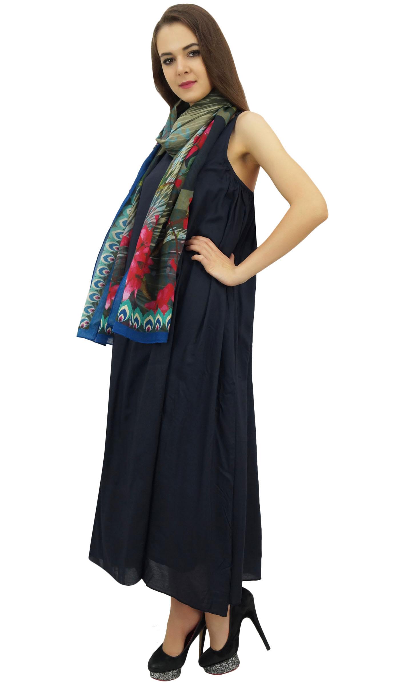 Indexbild 6 - Bimba Damen Designer Marineblaues Kleid Mit Floral Bedrucktem Schal-wbh