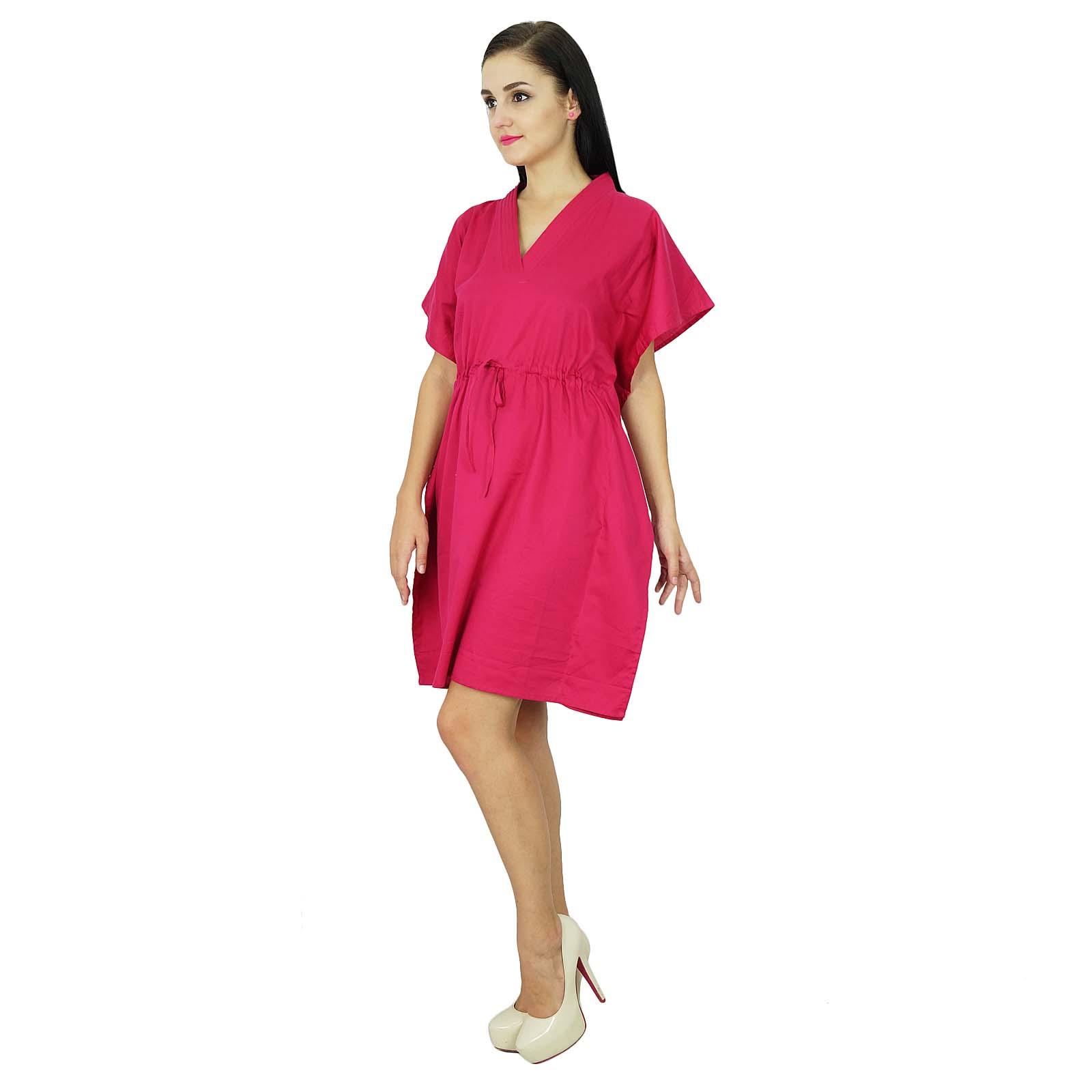 thumbnail 13 - Bimba Women Plain Kaftan Dress Beach Cover Up Cotton Solid Caftan-58z