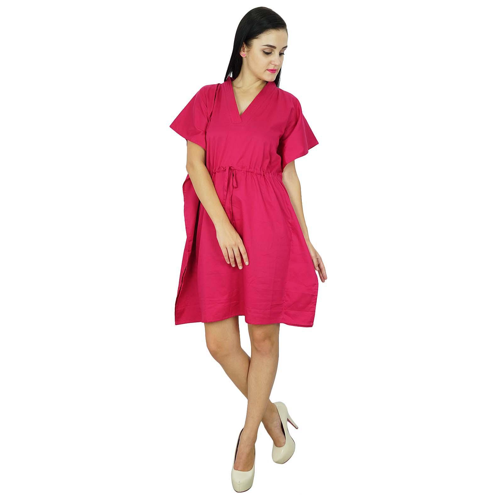 thumbnail 15 - Bimba Women Plain Kaftan Dress Beach Cover Up Cotton Solid Caftan-58z