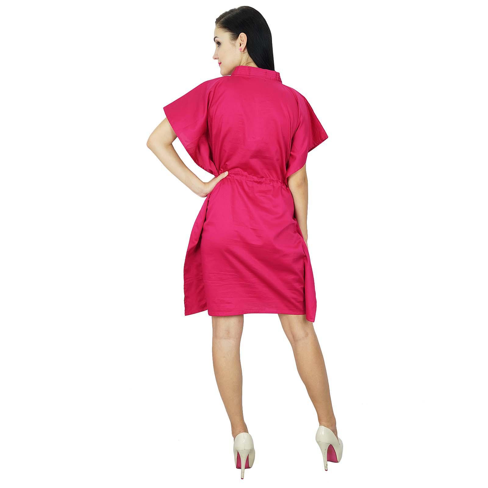 thumbnail 16 - Bimba Women Plain Kaftan Dress Beach Cover Up Cotton Solid Caftan-58z
