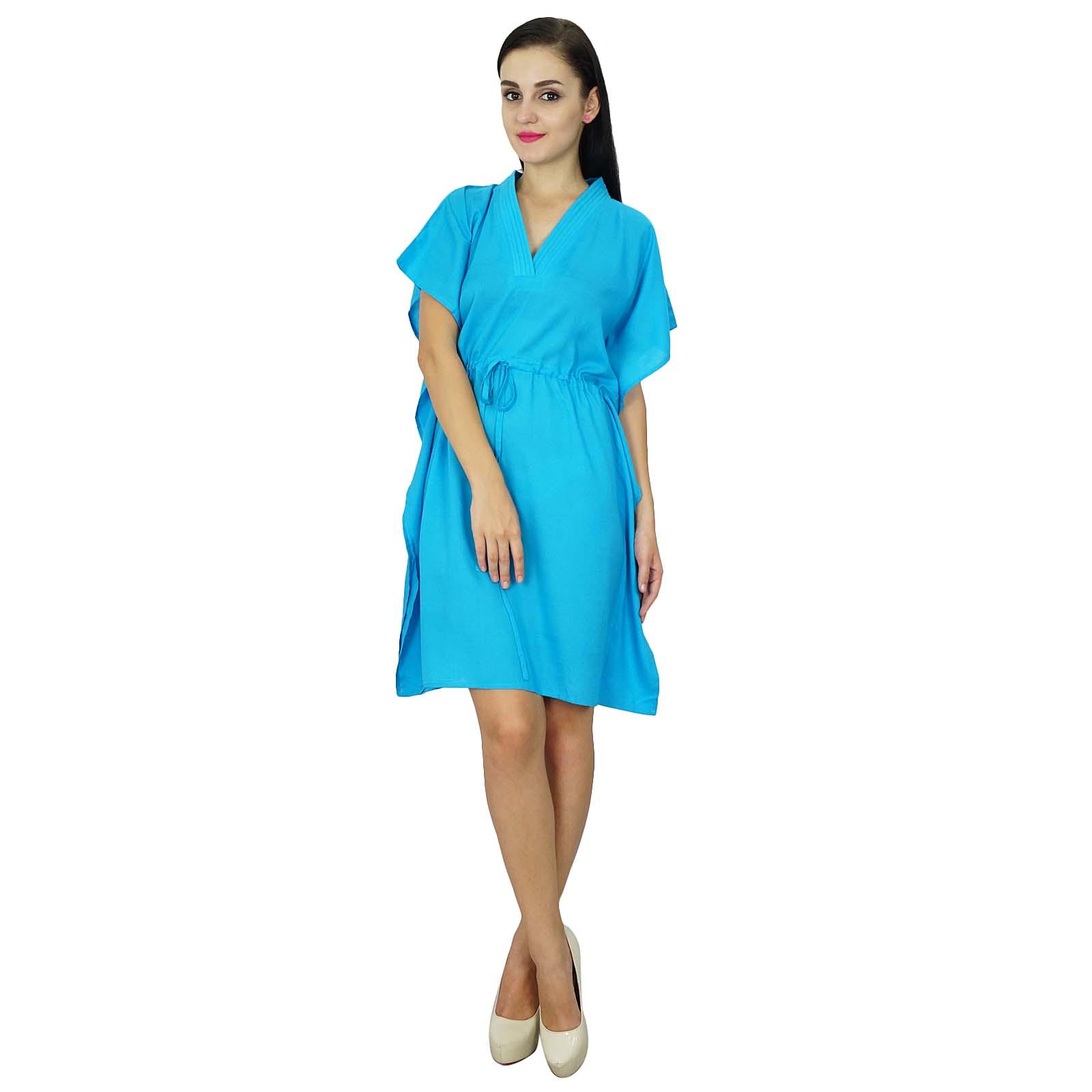 thumbnail 3 - Bimba Women Plain Kaftan Dress Beach Cover Up Cotton Solid Caftan-58z