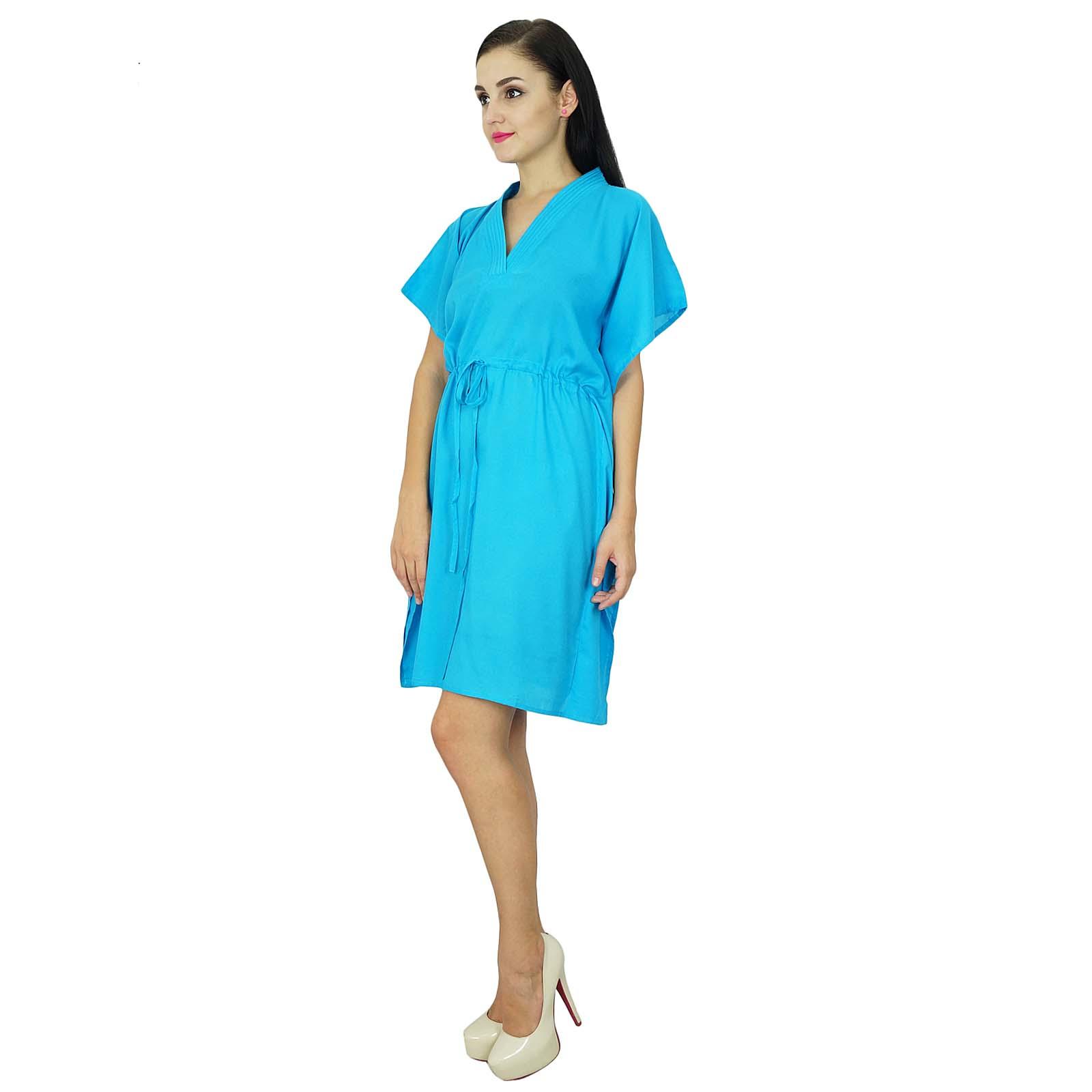 thumbnail 4 - Bimba Women Plain Kaftan Dress Beach Cover Up Cotton Solid Caftan-58z