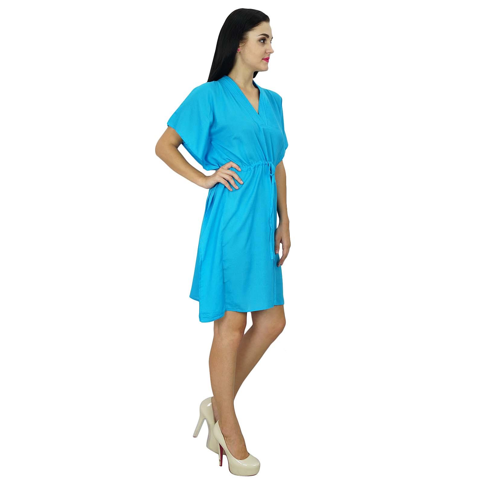 thumbnail 5 - Bimba Women Plain Kaftan Dress Beach Cover Up Cotton Solid Caftan-58z