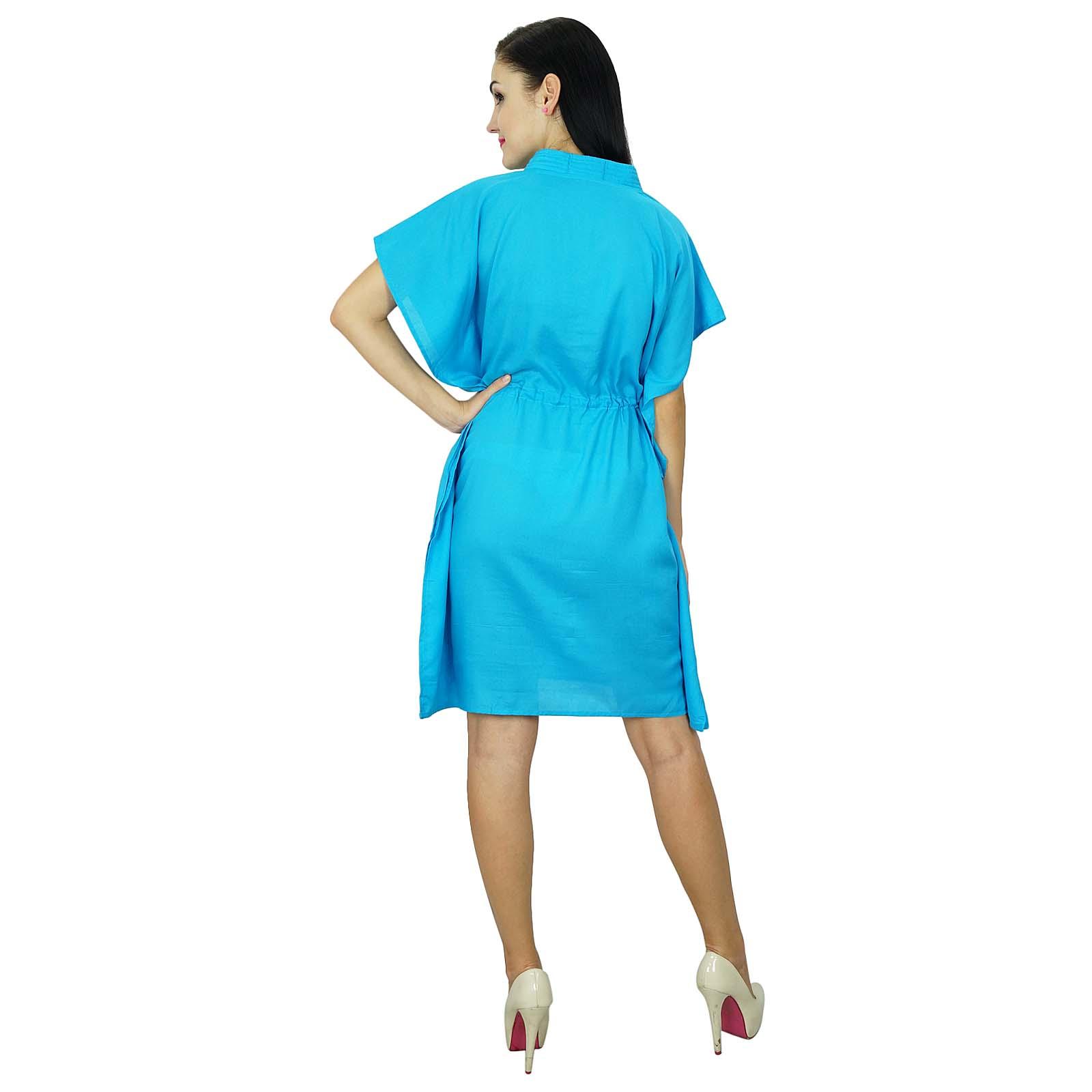 thumbnail 6 - Bimba Women Plain Kaftan Dress Beach Cover Up Cotton Solid Caftan-58z