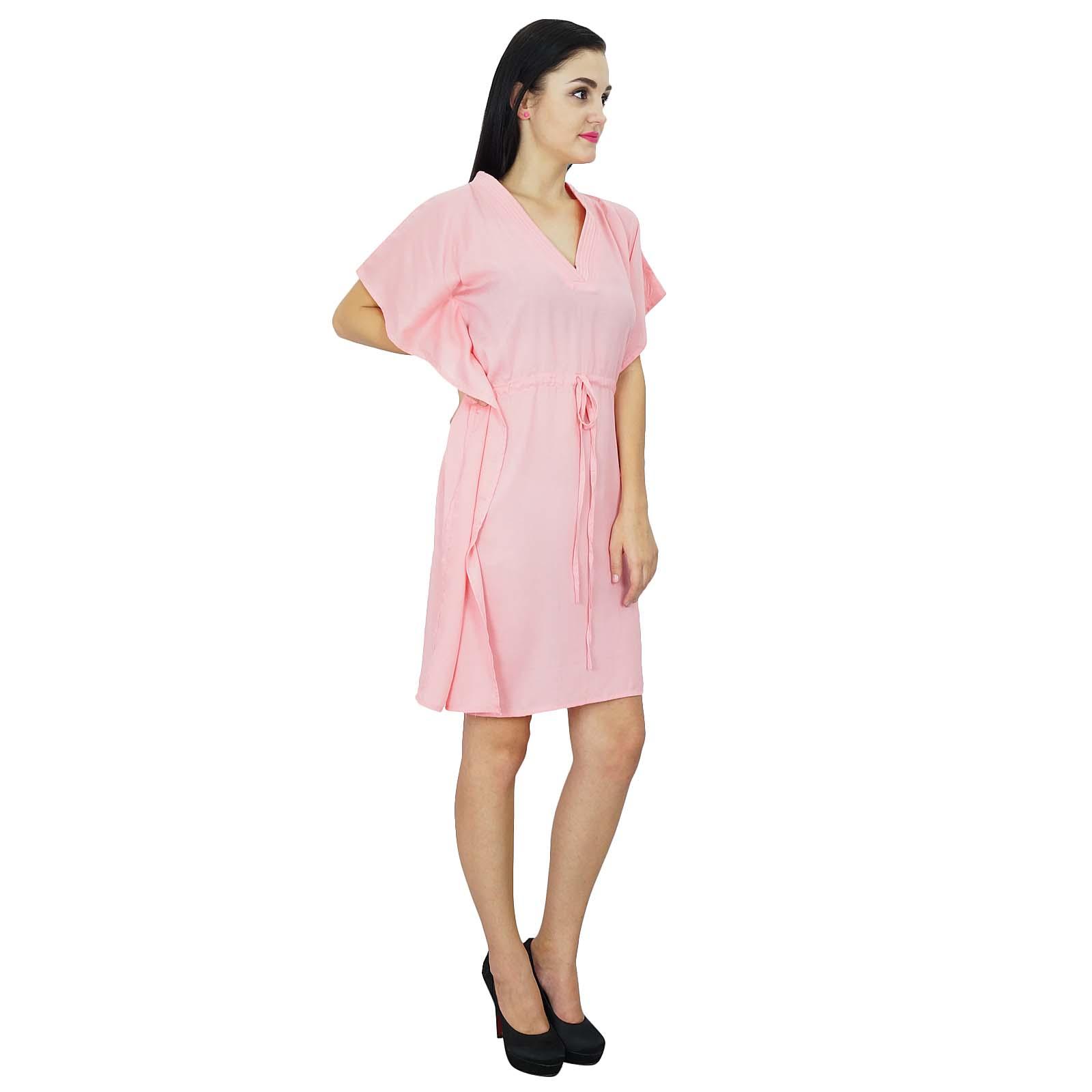 thumbnail 28 - Bimba Women Plain Kaftan Dress Beach Cover Up Cotton Solid Caftan-58z