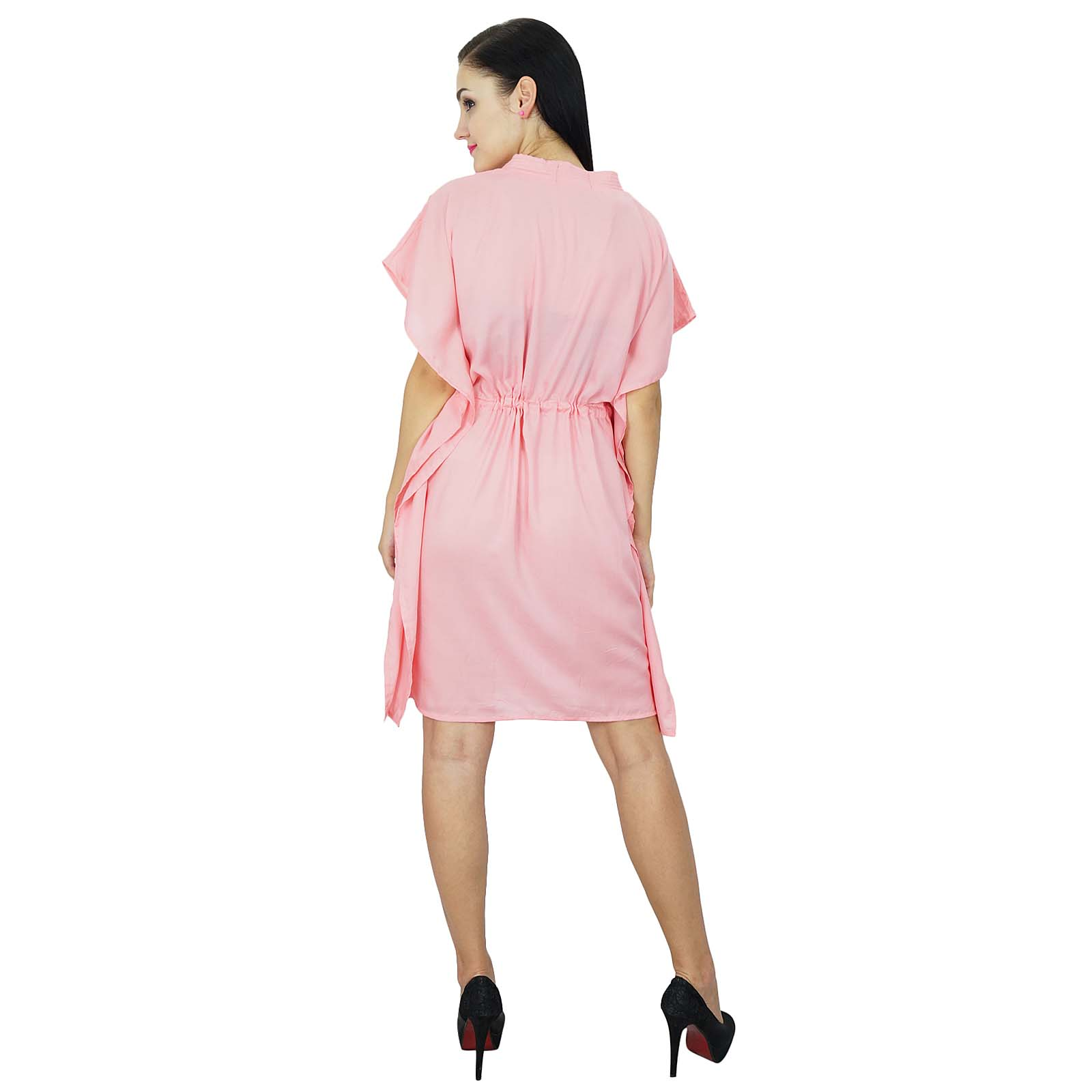 thumbnail 29 - Bimba Women Plain Kaftan Dress Beach Cover Up Cotton Solid Caftan-58z