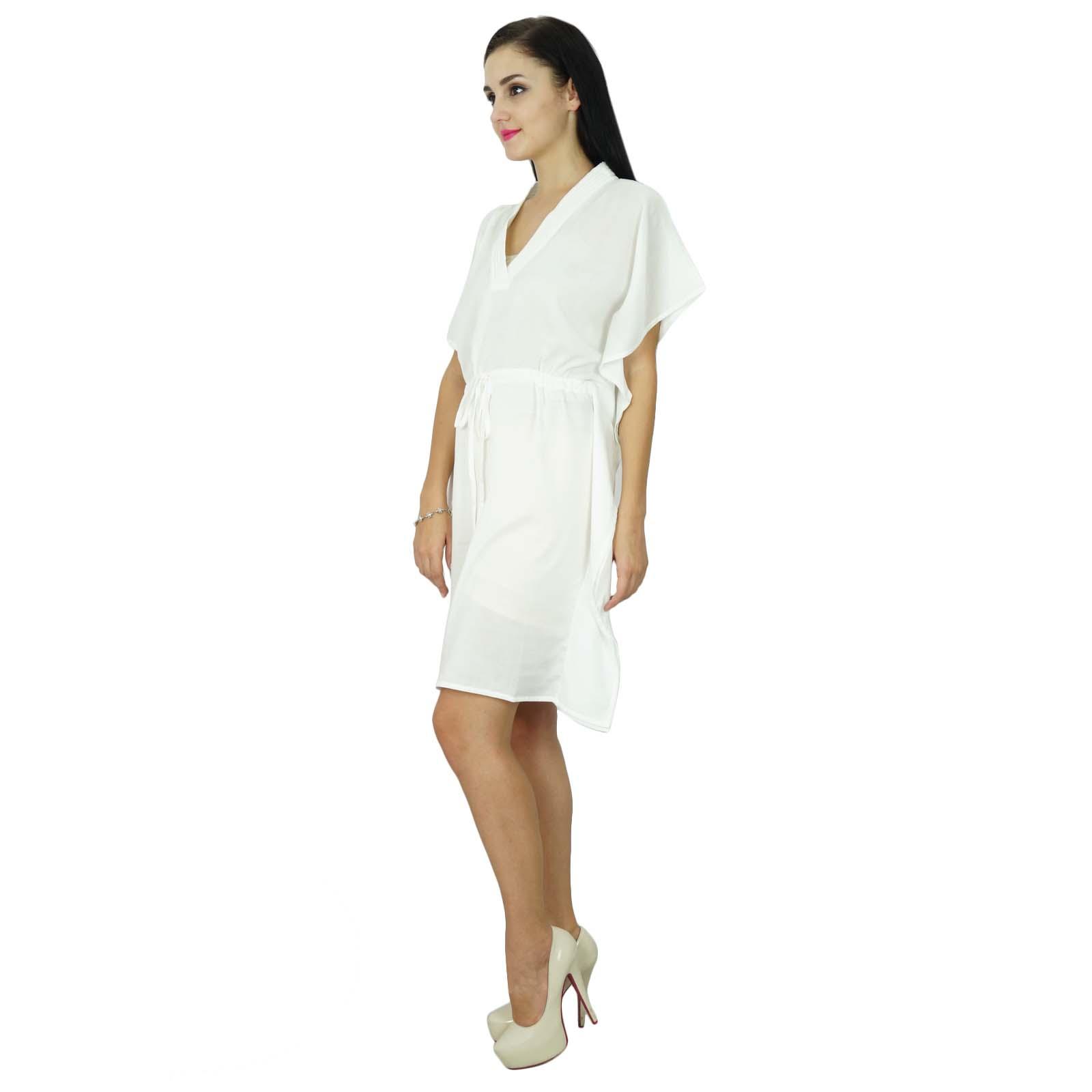 thumbnail 37 - Bimba Women Plain Kaftan Dress Beach Cover Up Cotton Solid Caftan-58z