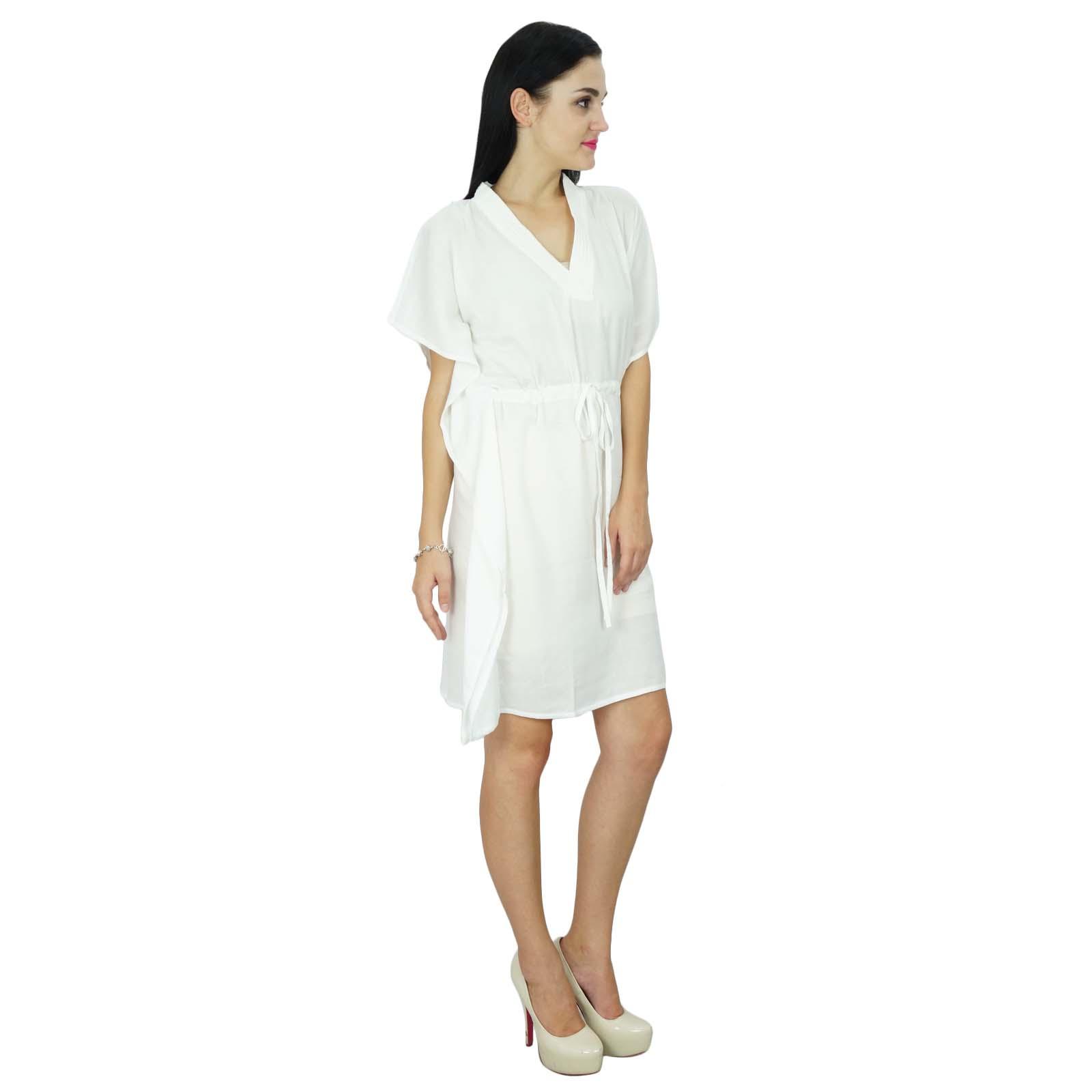 thumbnail 38 - Bimba Women Plain Kaftan Dress Beach Cover Up Cotton Solid Caftan-58z