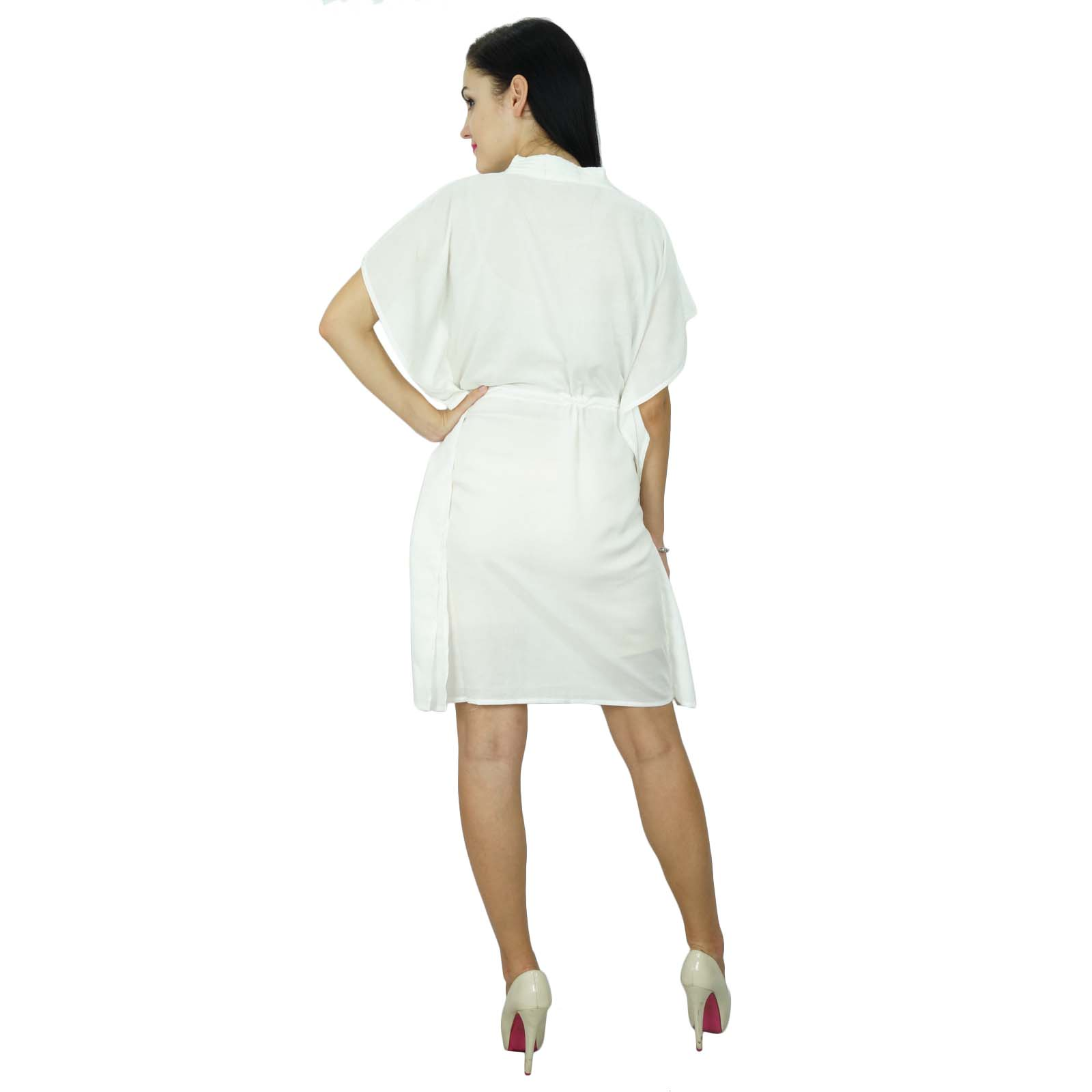 thumbnail 39 - Bimba Women Plain Kaftan Dress Beach Cover Up Cotton Solid Caftan-58z