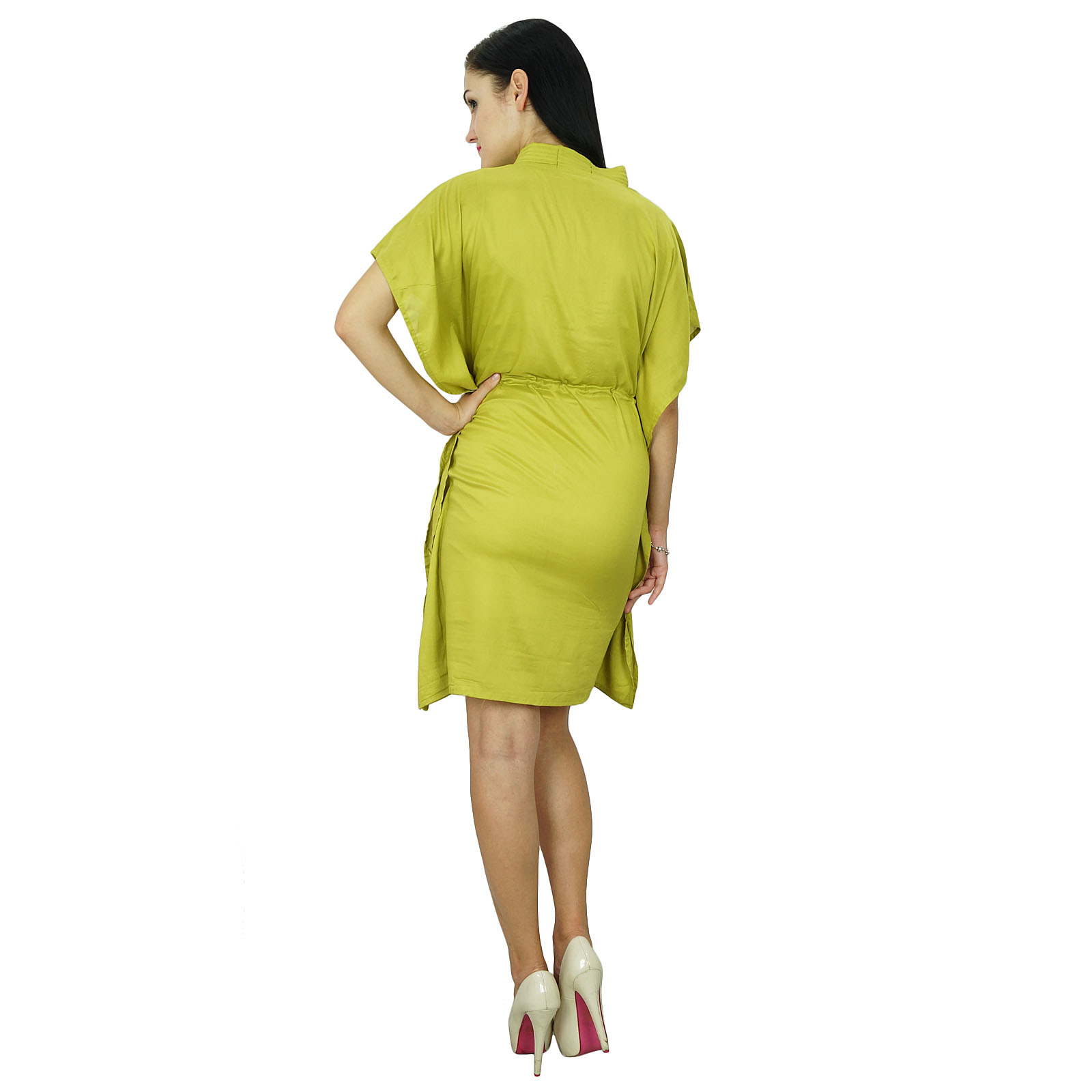 thumbnail 24 - Bimba Women Plain Kaftan Dress Beach Cover Up Cotton Solid Caftan-58z