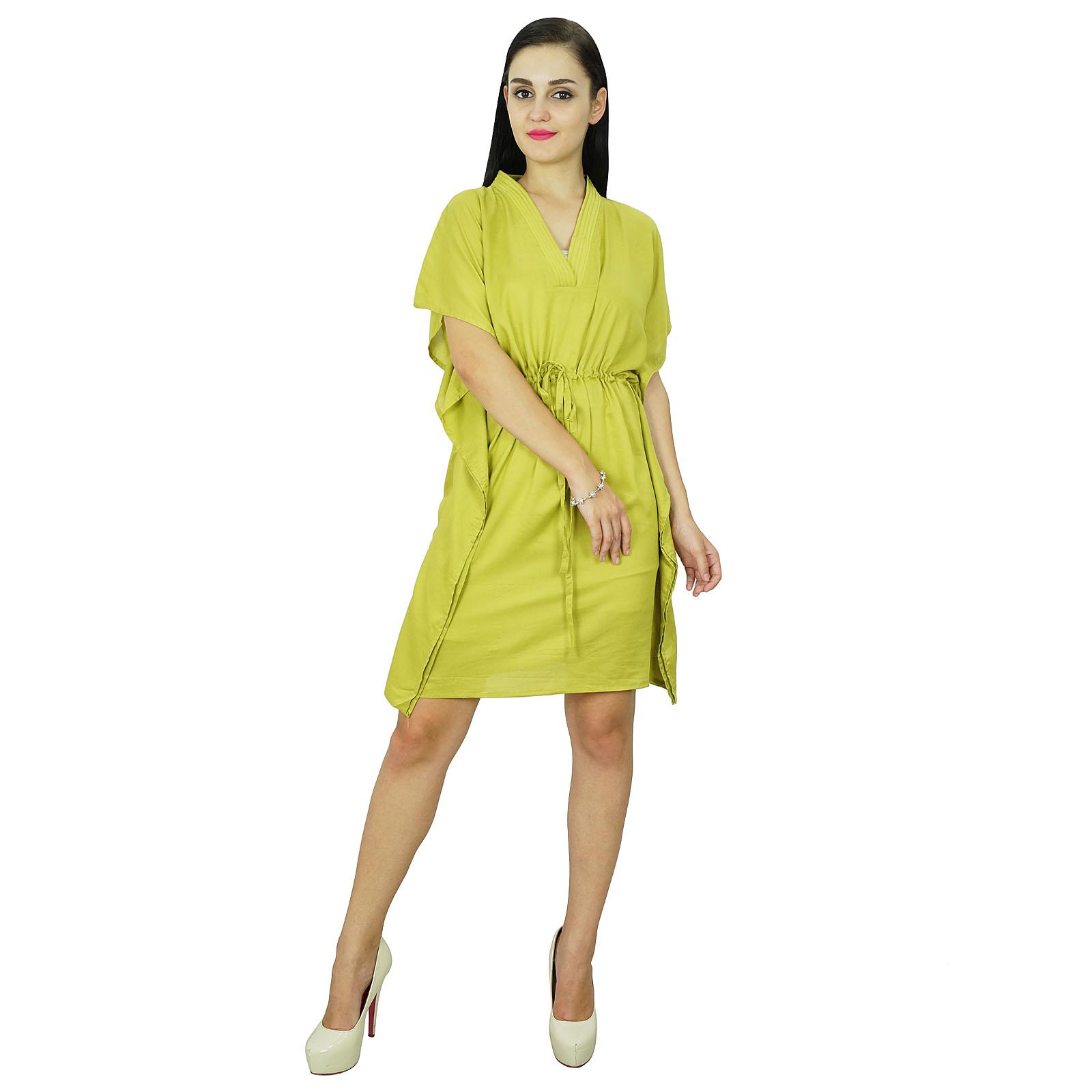 thumbnail 25 - Bimba Women Plain Kaftan Dress Beach Cover Up Cotton Solid Caftan-58z