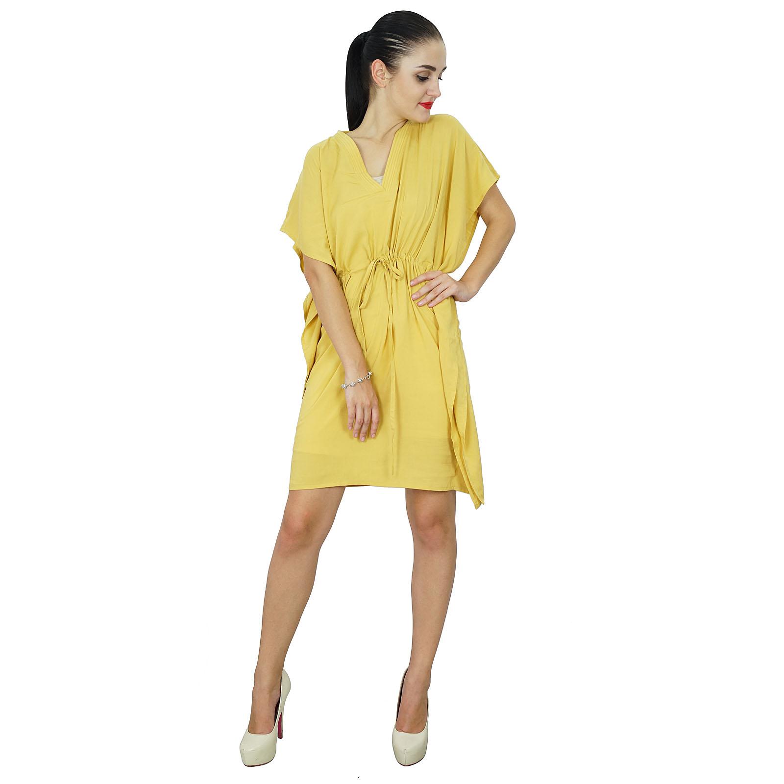 thumbnail 41 - Bimba Women Plain Kaftan Dress Beach Cover Up Cotton Solid Caftan-58z