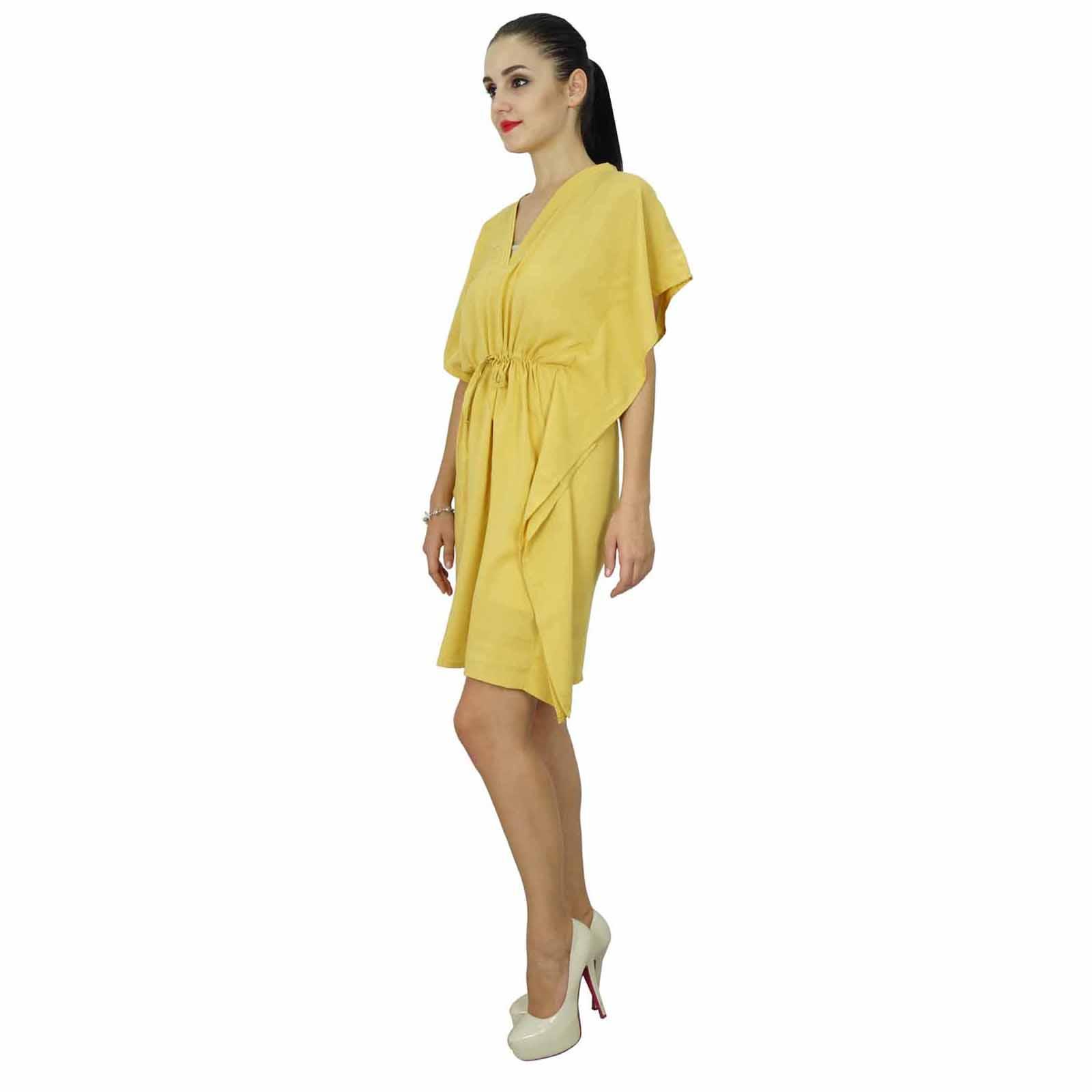 thumbnail 42 - Bimba Women Plain Kaftan Dress Beach Cover Up Cotton Solid Caftan-58z