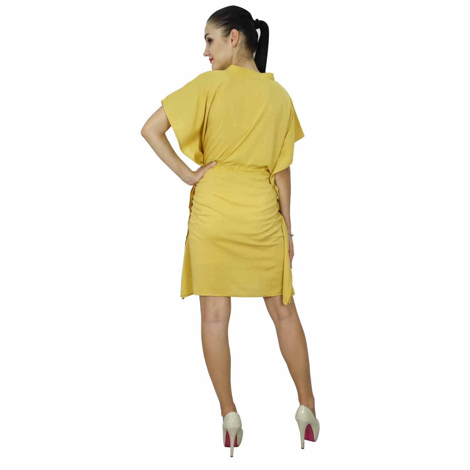 thumbnail 44 - Bimba Women Plain Kaftan Dress Beach Cover Up Cotton Solid Caftan-58z