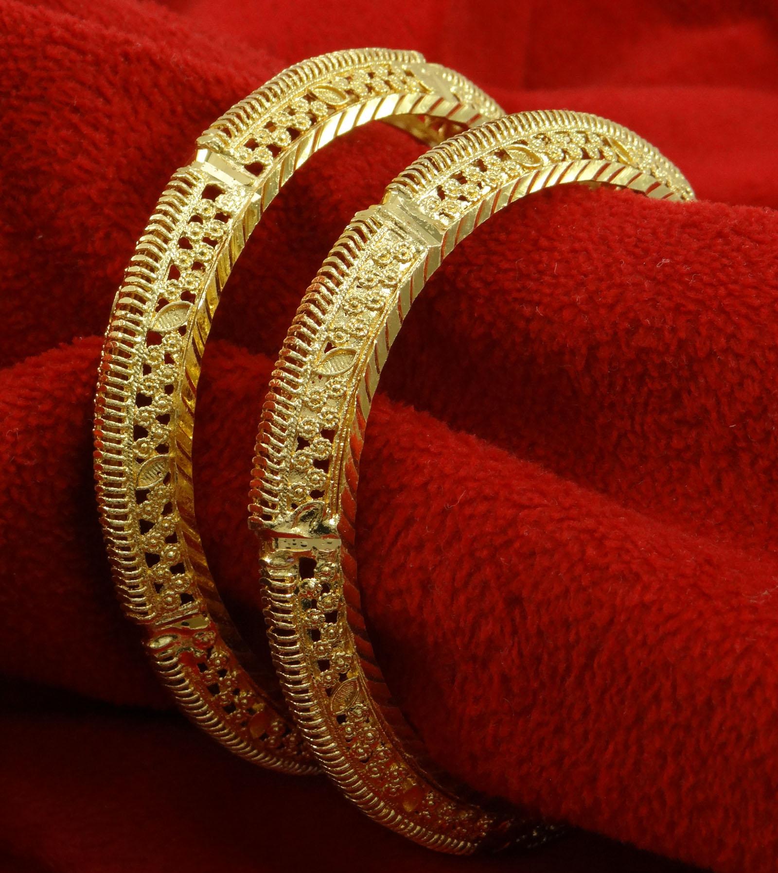 2*8 BSG19C-PAR Gold Plated Traditional Kada Bangle Set Women Jewelry Size 2*6