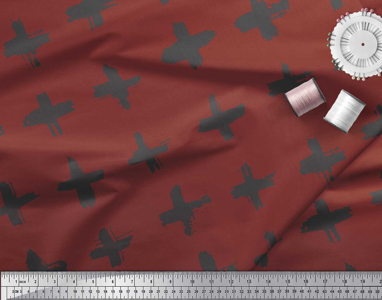Soimoi-Red-Cotton-Poplin-Fabric-Brush-Stroke-Abstract-Print-Sewing-tl3 thumbnail 3