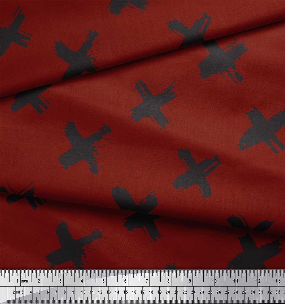 Soimoi-Red-Cotton-Poplin-Fabric-Brush-Stroke-Abstract-Print-Sewing-tl3 thumbnail 4