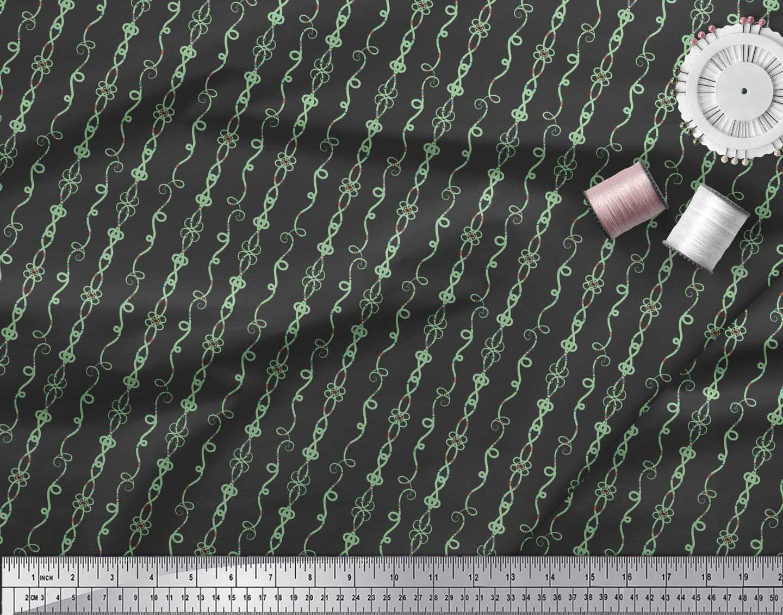 Soimoi-Black-Cotton-Poplin-Fabric-Tendril-amp-Abstract-Decor-Fabric-Jxl thumbnail 4