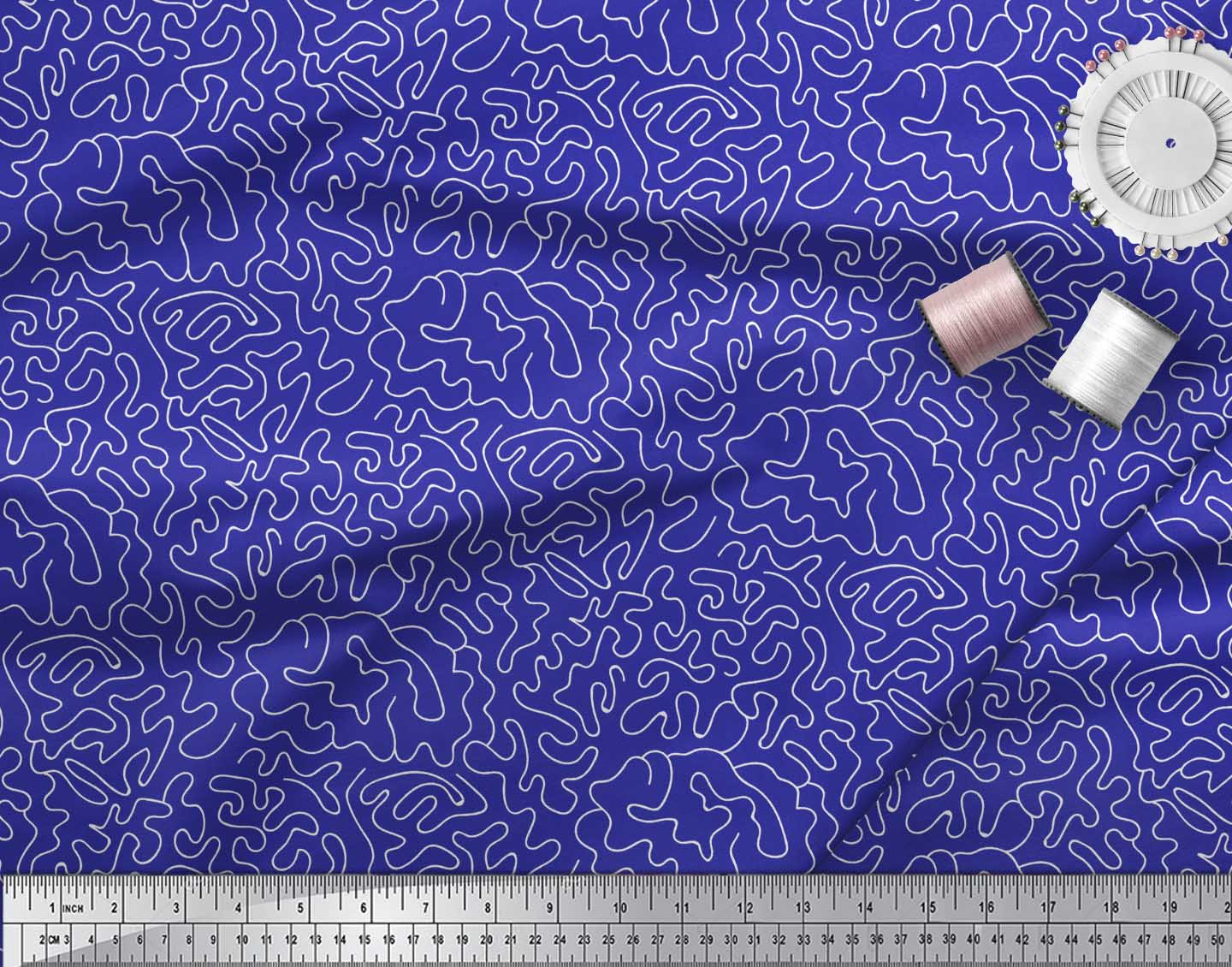Soimoi-Blue-Cotton-Poplin-Fabric-Abstracts-Abstract-Print-Sewing-Evs thumbnail 4