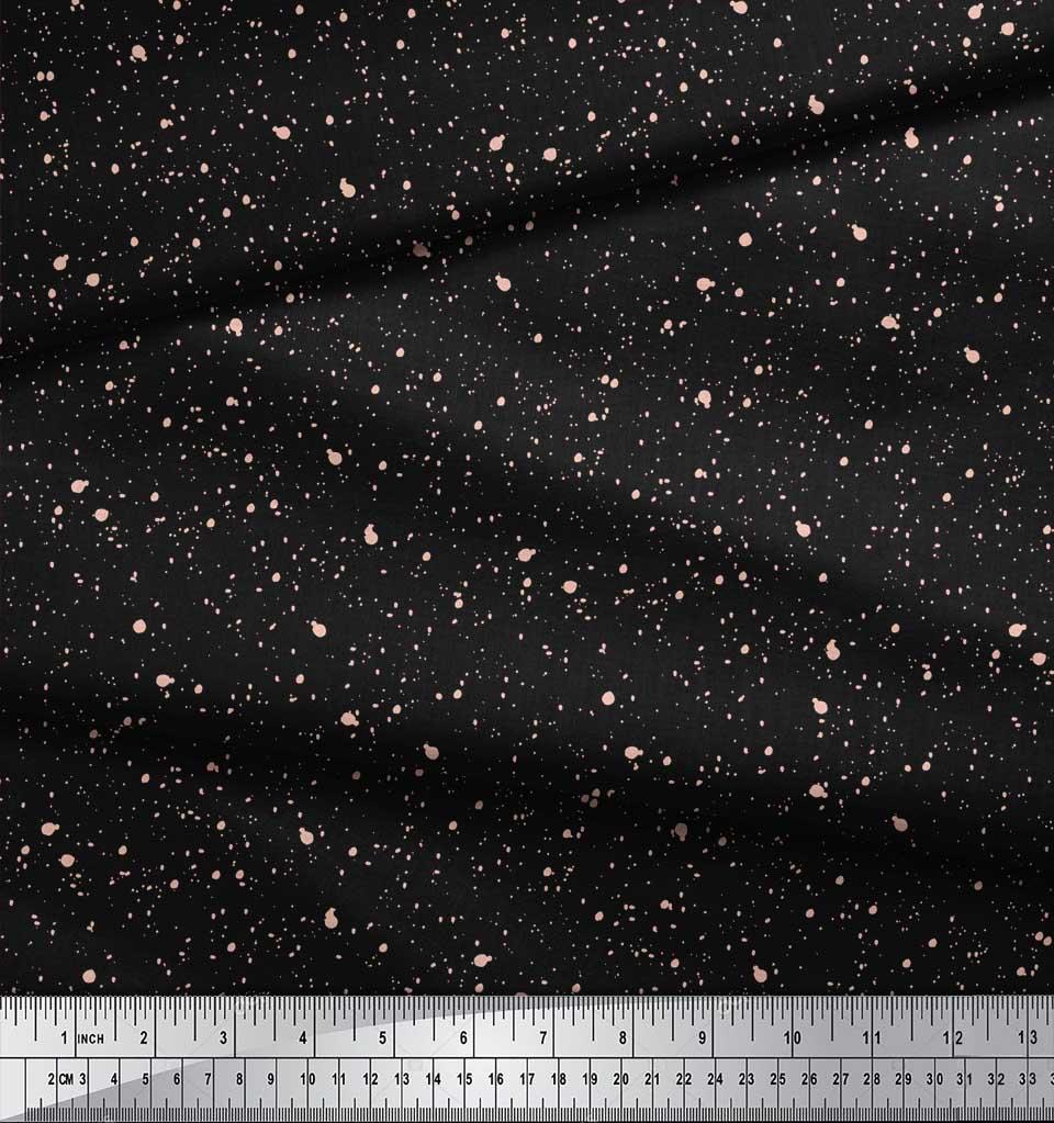 Soimoi-Black-Cotton-Poplin-Fabric-Brush-Stroke-Abstract-Printed-Hwf thumbnail 3