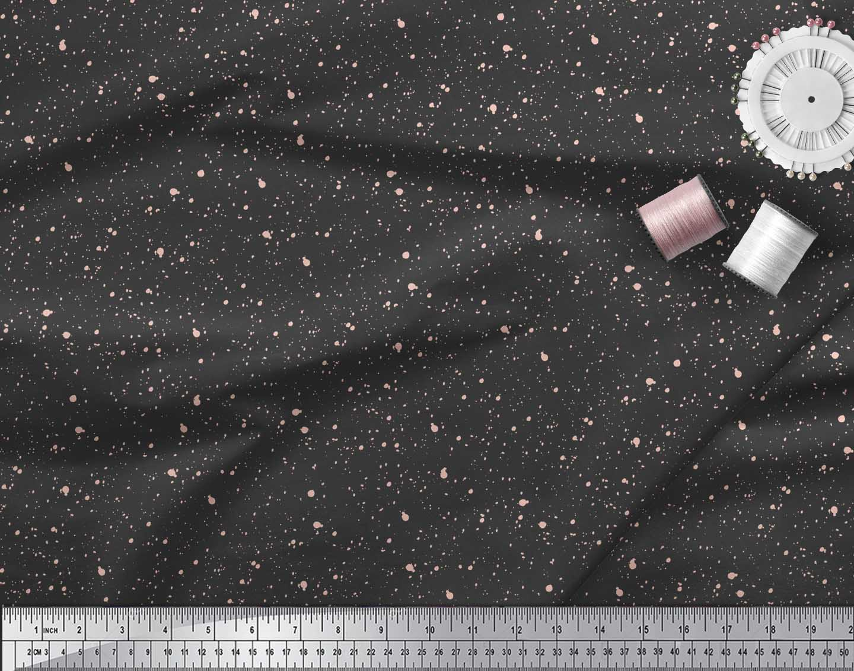 Soimoi-Black-Cotton-Poplin-Fabric-Brush-Stroke-Abstract-Printed-Hwf thumbnail 4