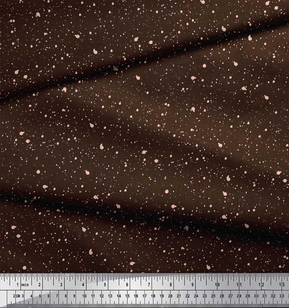 Soimoi-Brown-Cotton-Poplin-Fabric-Brush-Stroke-Abstract-Printed-ljW thumbnail 4