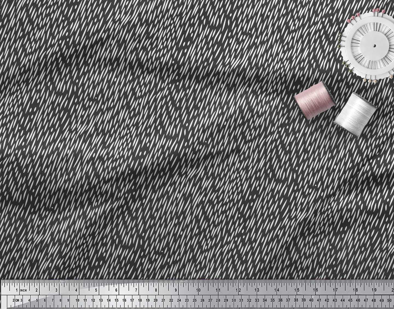 Soimoi-Black-Cotton-Poplin-Fabric-Brush-Stroke-Abstract-Print-Fabric-MRf thumbnail 4