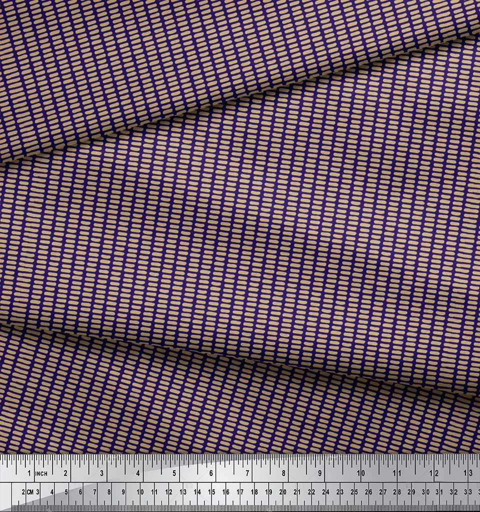 Soimoi-Blue-Cotton-Poplin-Fabric-Brush-Stroke-Abstract-Fabric-Prints-bzW thumbnail 3