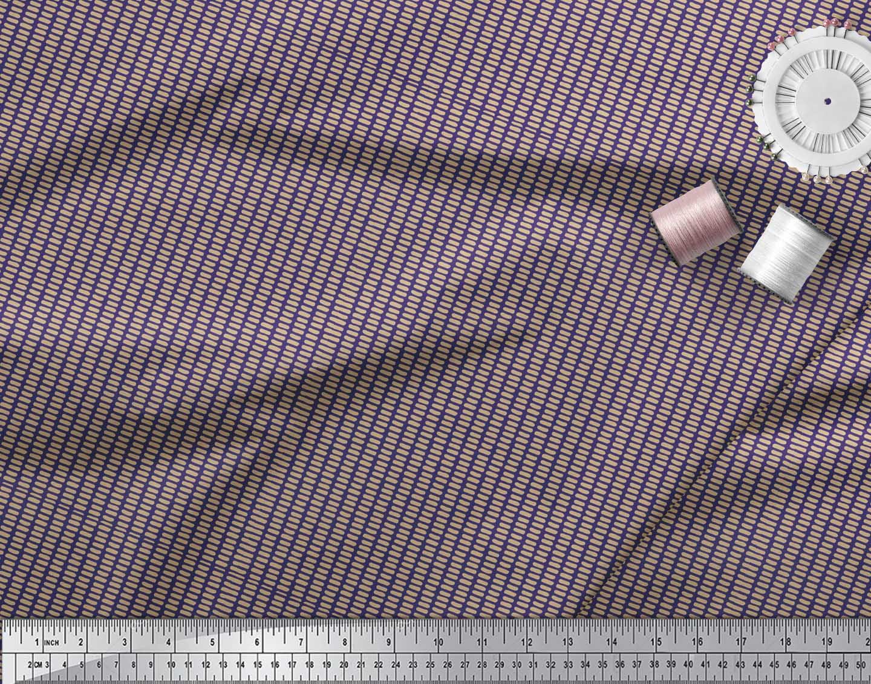 Soimoi-Blue-Cotton-Poplin-Fabric-Brush-Stroke-Abstract-Fabric-Prints-bzW thumbnail 4