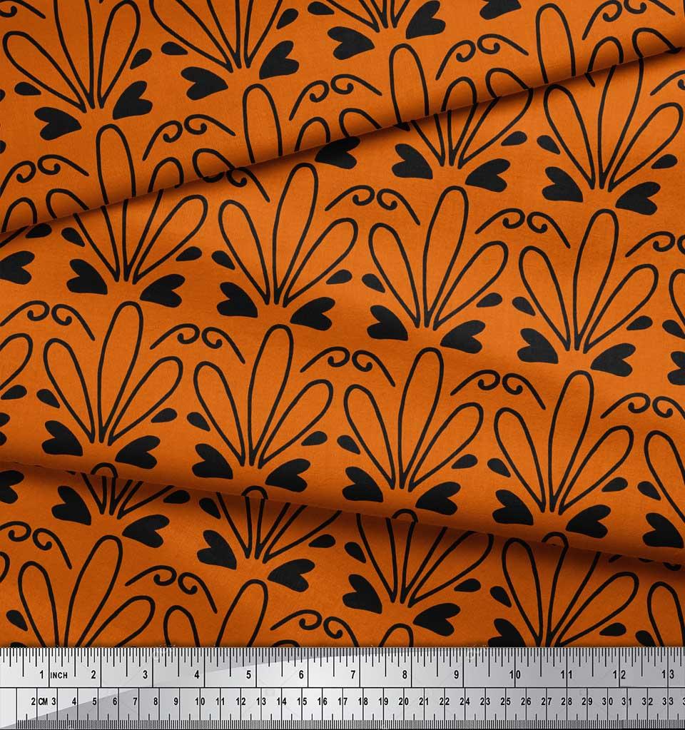 Soimoi-Orange-Cotton-Poplin-Fabric-Tendril-amp-Abstract-Printed-Fabric-8Oy thumbnail 3