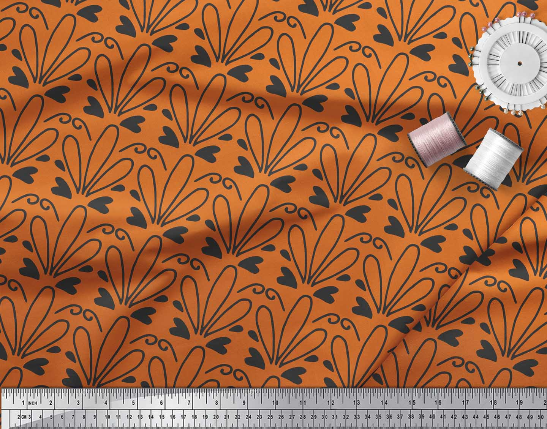 Soimoi-Orange-Cotton-Poplin-Fabric-Tendril-amp-Abstract-Printed-Fabric-8Oy thumbnail 4