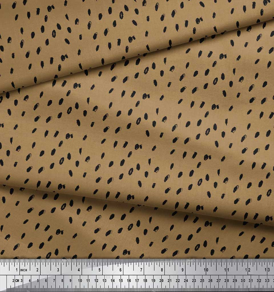 Soimoi-Brown-Cotton-Poplin-Fabric-Brush-Stroke-Abstract-Decor-Fabric-BEb thumbnail 4