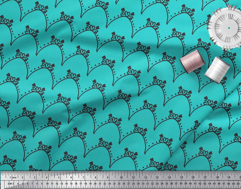 Soimoi-Green-Cotton-Poplin-Fabric-Tendril-amp-Abstract-Print-Fabric-wQ7 thumbnail 4