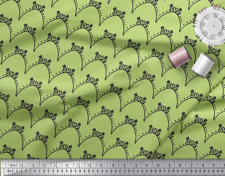 Soimoi-Green-Cotton-Poplin-Fabric-Tendril-amp-Abstract-Printed-Fabric-qGM thumbnail 3