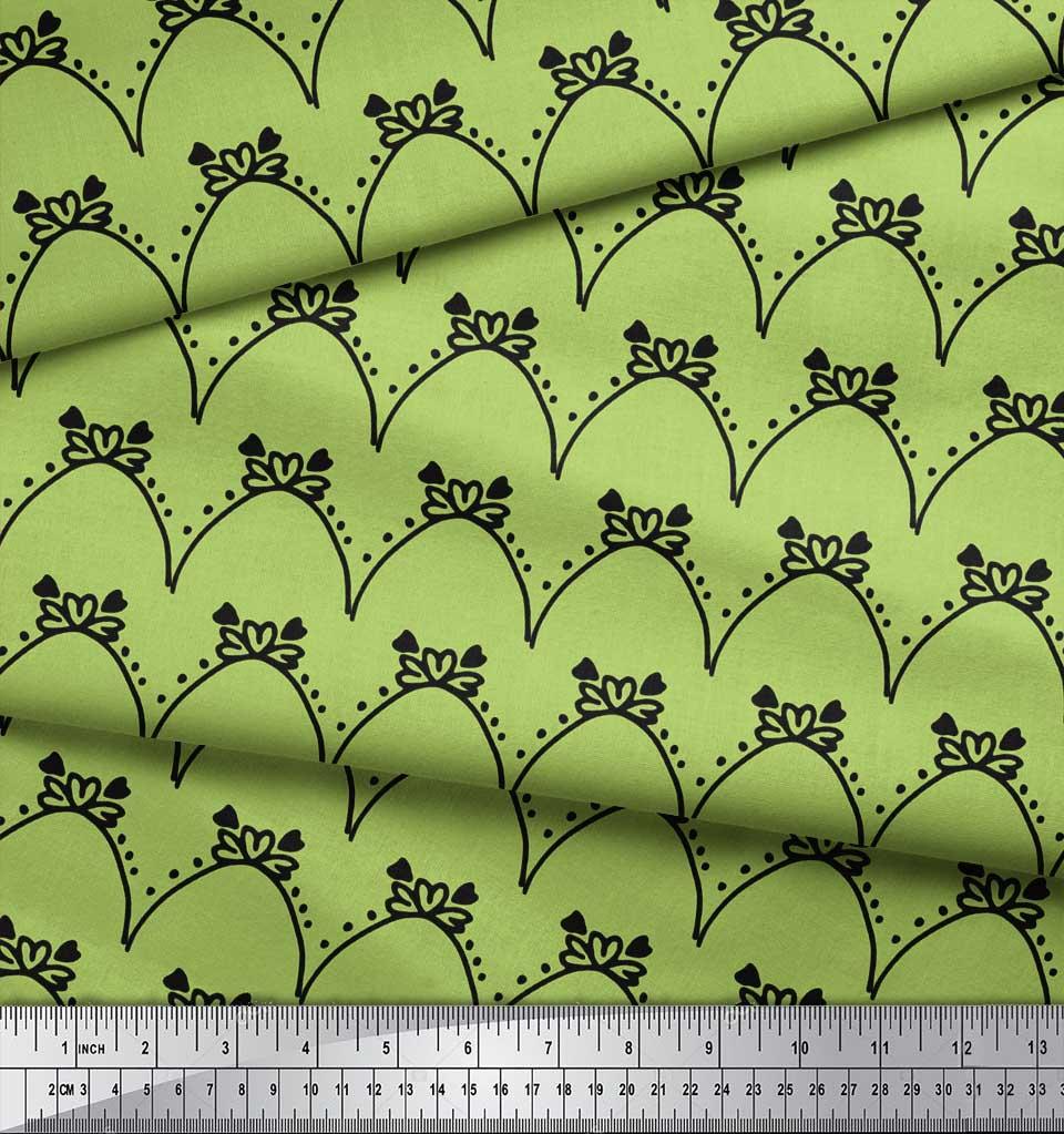 Soimoi-Green-Cotton-Poplin-Fabric-Tendril-amp-Abstract-Printed-Fabric-qGM thumbnail 4