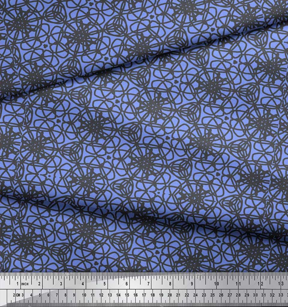 Soimoi-Blue-Cotton-Poplin-Fabric-Abstracts-Abstract-Print-Fabric-d8Q thumbnail 3