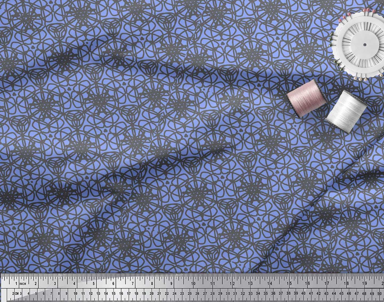 Soimoi-Blue-Cotton-Poplin-Fabric-Abstracts-Abstract-Print-Fabric-d8Q thumbnail 4