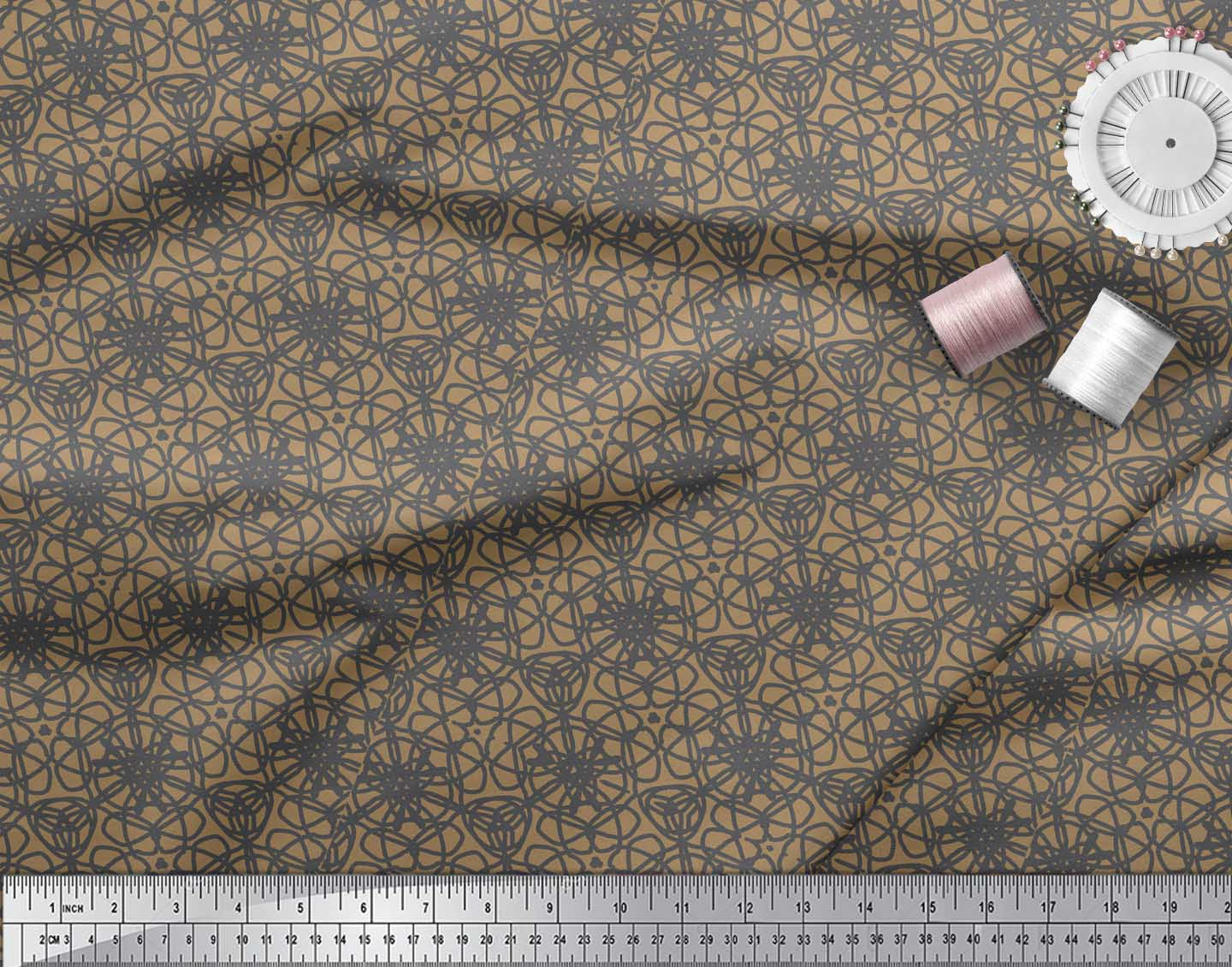 Soimoi-Brown-Cotton-Poplin-Fabric-Abstracts-Abstract-Fabric-Prints-QL9 thumbnail 3