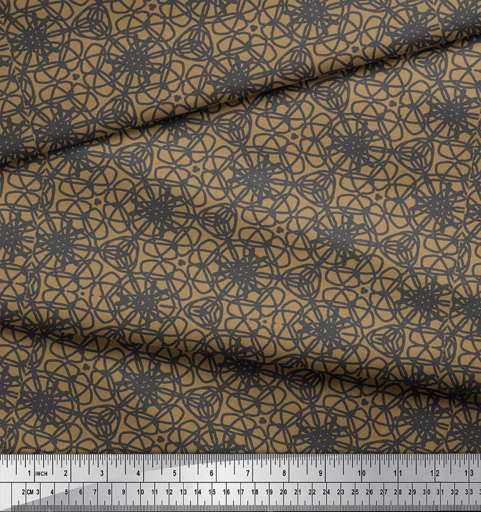 Soimoi-Brown-Cotton-Poplin-Fabric-Abstracts-Abstract-Fabric-Prints-QL9 thumbnail 4