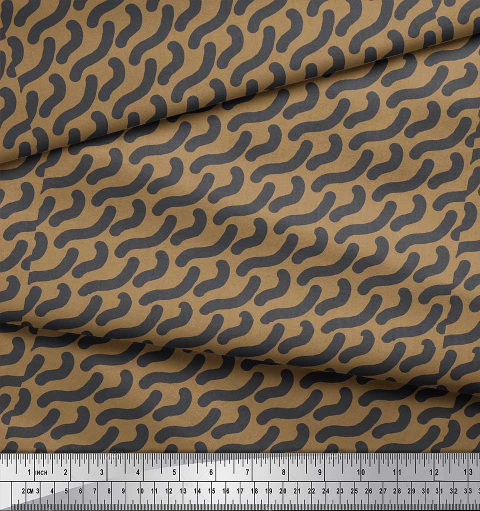 Soimoi-Brown-Cotton-Poplin-Fabric-Brush-Stroke-Abstract-Print-Fabric-ZB1 thumbnail 3
