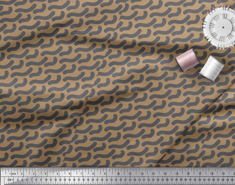 Soimoi-Brown-Cotton-Poplin-Fabric-Brush-Stroke-Abstract-Print-Fabric-ZB1 thumbnail 4