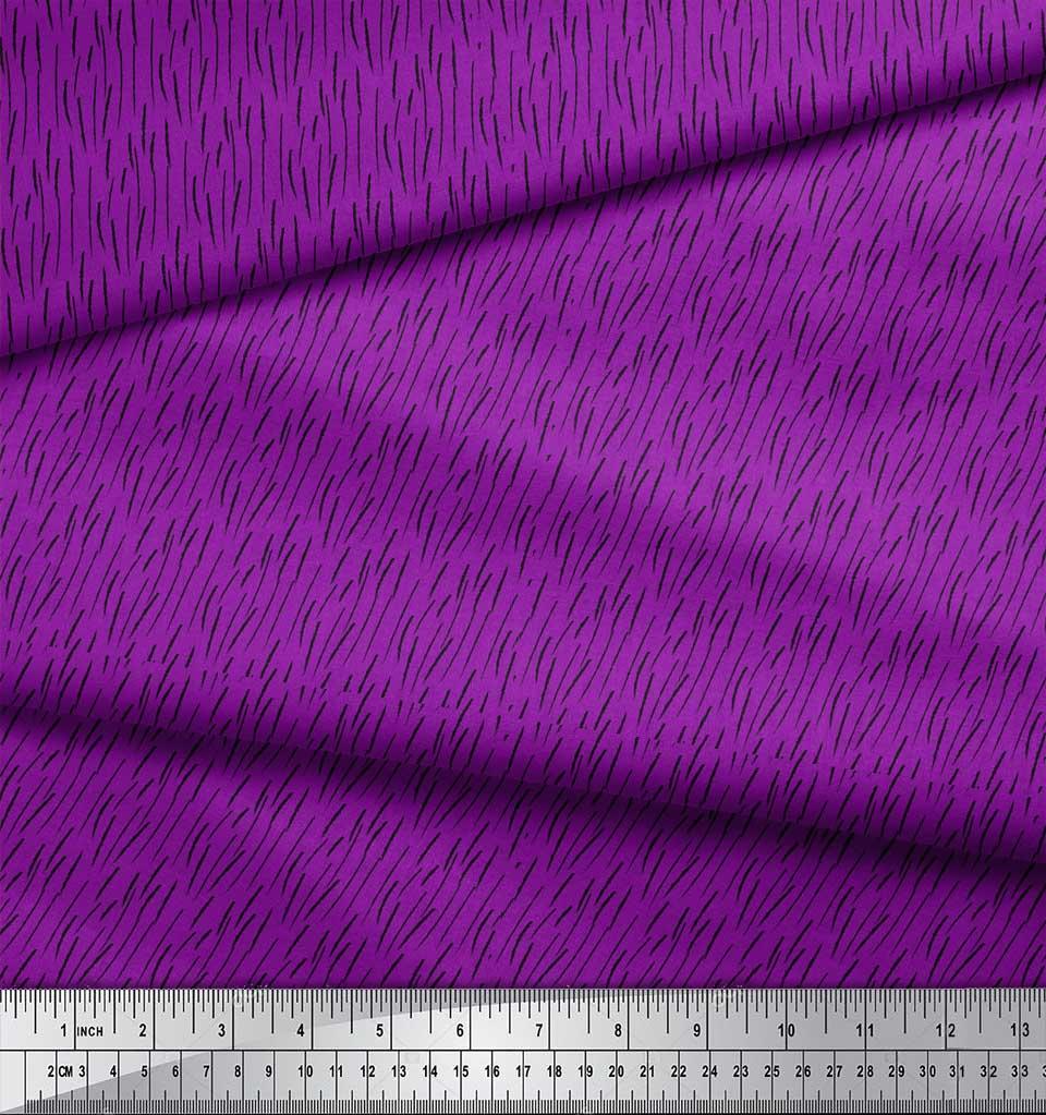 Soimoi-Purple-Cotton-Poplin-Fabric-Brush-Stroke-Abstract-Print-Fabric-wBa thumbnail 3