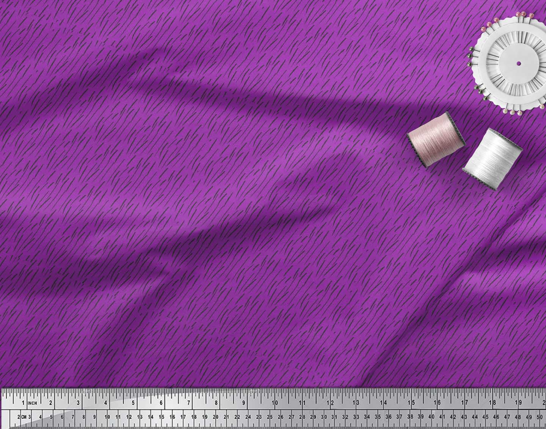 Soimoi-Purple-Cotton-Poplin-Fabric-Brush-Stroke-Abstract-Print-Fabric-wBa thumbnail 4