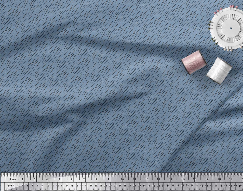 Soimoi-Blue-Cotton-Poplin-Fabric-Brush-Stroke-Abstract-Fabric-Prints-EAC thumbnail 3
