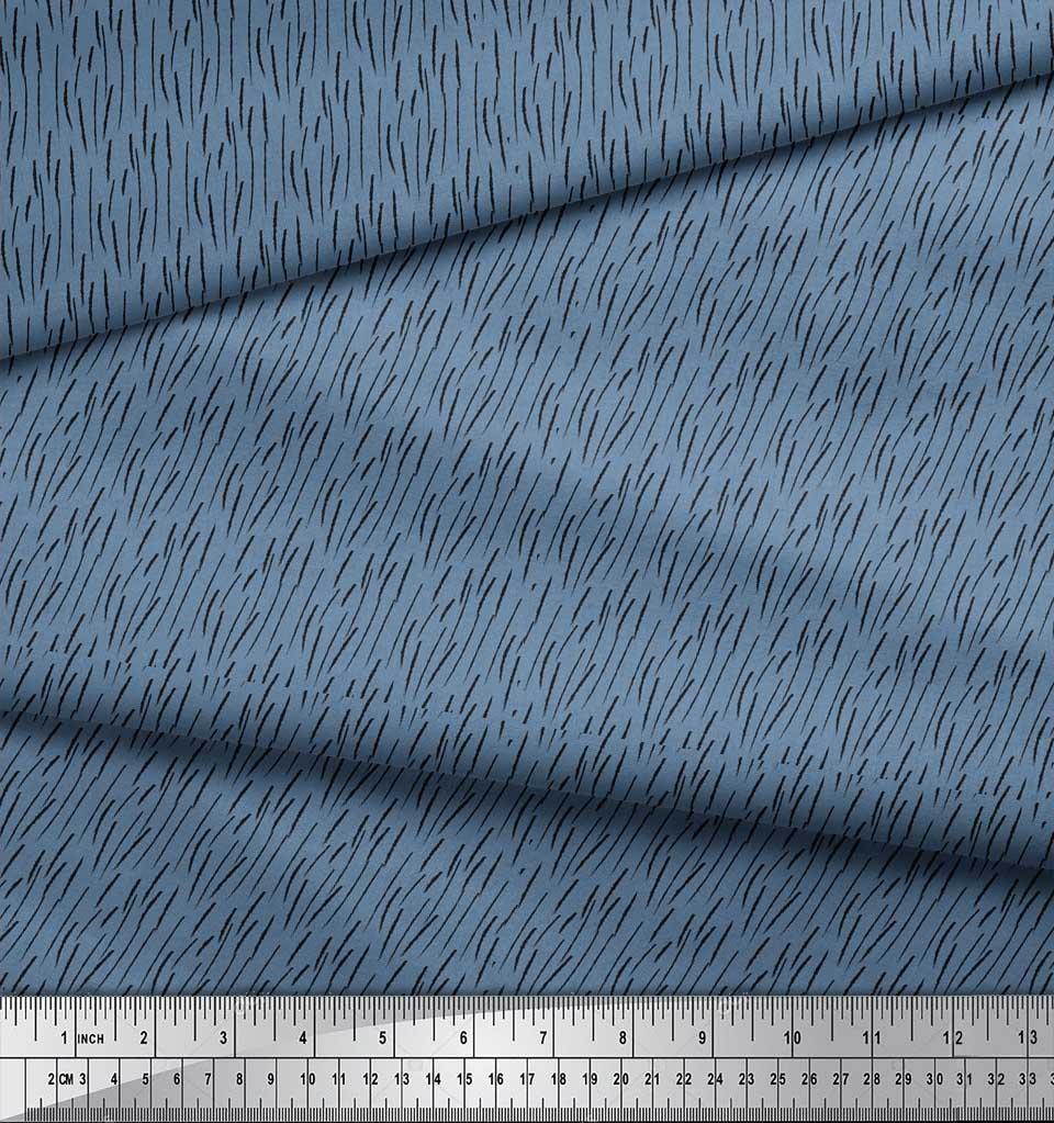Soimoi-Blue-Cotton-Poplin-Fabric-Brush-Stroke-Abstract-Fabric-Prints-EAC thumbnail 4