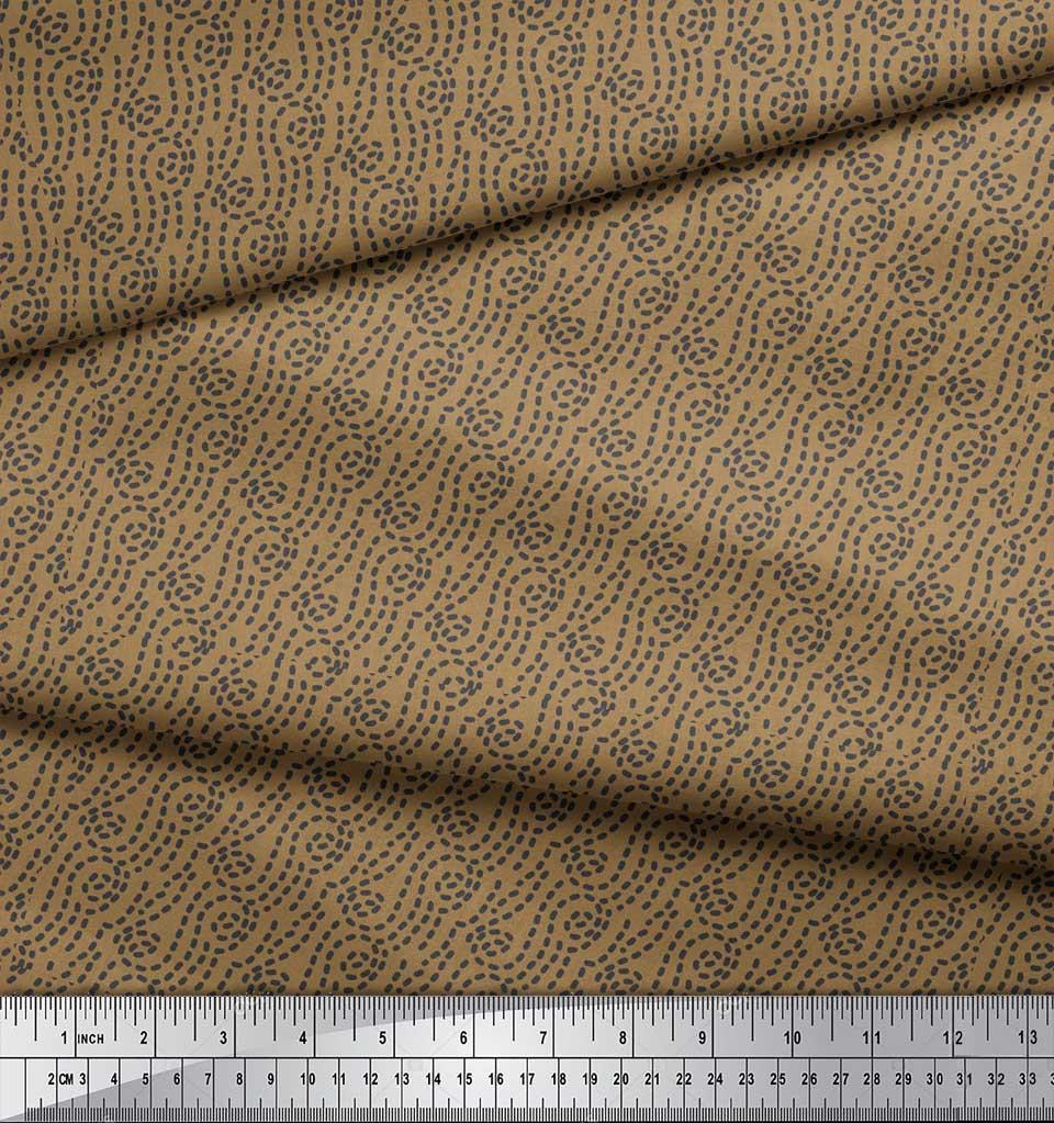 Soimoi-Brown-Cotton-Poplin-Fabric-Brush-Stroke-Abstract-Print-Fabric-BaY thumbnail 3