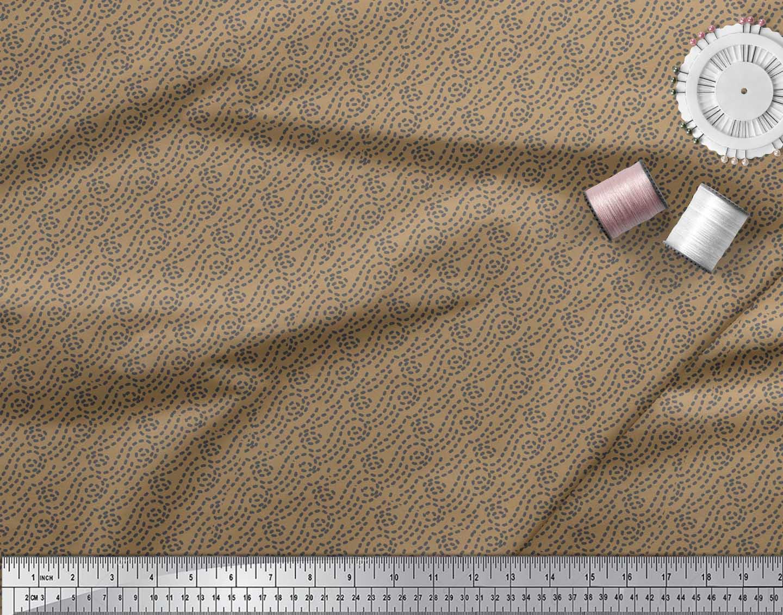 Soimoi-Brown-Cotton-Poplin-Fabric-Brush-Stroke-Abstract-Print-Fabric-BaY thumbnail 4